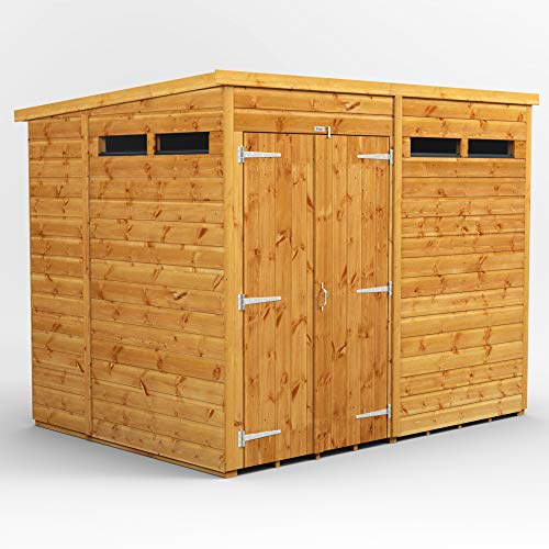 POWER | 8x6 Pent Security Wooden Garden Shed Double Door | Size 8 x 6 | Secure Sheds with super fast delivery