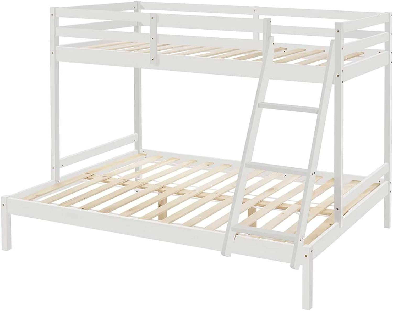 Astro Timber Wooden Triple Bunk Bed Frame Kids Single Over Double White