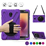 Galaxy Tab A 8.0 2017 Case, [Rugged: Shock Proof] Heavy Duty Dual Protective Case with Kickstand and Adjustable Hand Strap for Samsung Galaxy Tab 8.0'(New) T380/T385 2017 Release (Purple)