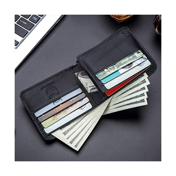 BULLCAPTAIN Slim Bi-fold RFID Blocking Leather Wallet for Men with 10 Credit Card Pockets and Removable Id Window QB031H 3