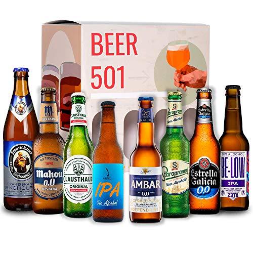 Pack cervezas sin alcohol BEER 501 : Mahou Tostada, Staropramen, Franciskaner, Estrella Galicia,...
