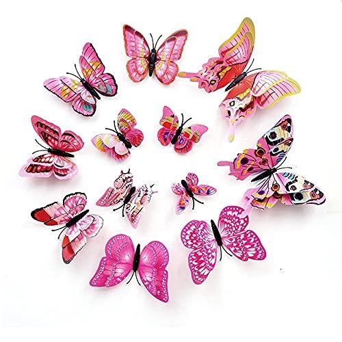 LZHLMCL Vinilo Decorativo Mariposa Imán 12 Piezas Mariposa Tridimensional 3D Color Doble...