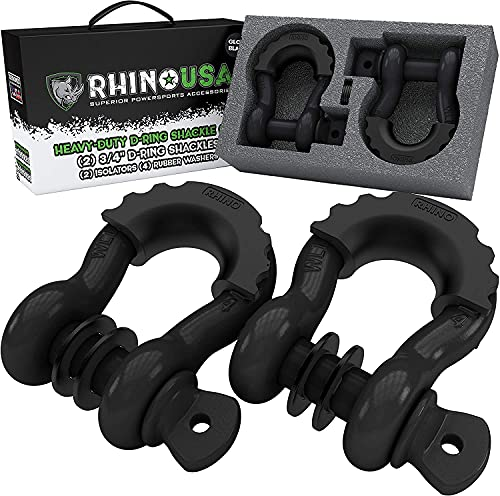 """Rhino USA D Ring Shackle 41,850lb Break Strength – 3/4"""" Shackle with 7/8 Pin for use with Tow Strap, Winch, Off-Road Jeep Truck Vehicle Recovery, Best Offroad Towing Accessories (Gloss Black 2-Pack)"""