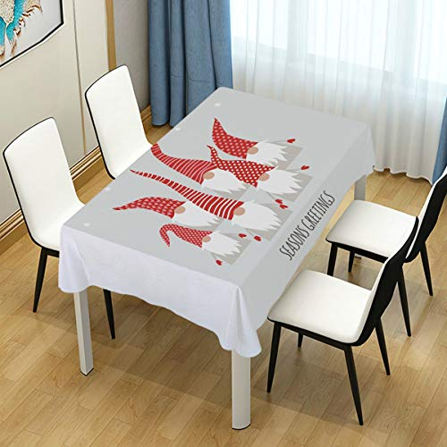 AGONA Square Tablecloth Christmas Cute Little Gnomes Tablecloths Round Polyester Washable Table Cover Wrinkle Free Anti-Fading Table Cloth for Picnic Table Kitchen Dinning Tabletop Decoration 54x54 in
