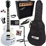 Guitare Electrique LP Blanche Seule ou Pack/Accastillage Chromé (Guitare LP 9 Accessoires)
