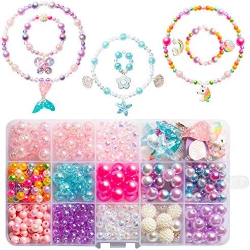 OSNIE DIY Bead Jewelry Making Kit for Kids Girls with Mermaid Starfish Shell Unicorn Rainbow product image