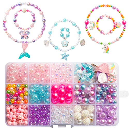 OSNIE DIY Bead Jewelry Making Kit for Kids Girls with Mermaid Starfish Shell Unicorn Rainbow Butterfly Heart Pearl Charms Beads for Bracelets Rings Necklaces Creativity Beading Kits Art Craft, 400Pcs+