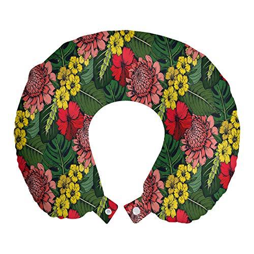 ABAKUHAUS Tropical Cojín de Viaje para Soporte de Cuello, Selva Floral y Hojas, de Espuma con Memoria y Funda Estampada, 30x30 cm, Aceituna Verde Multicolor