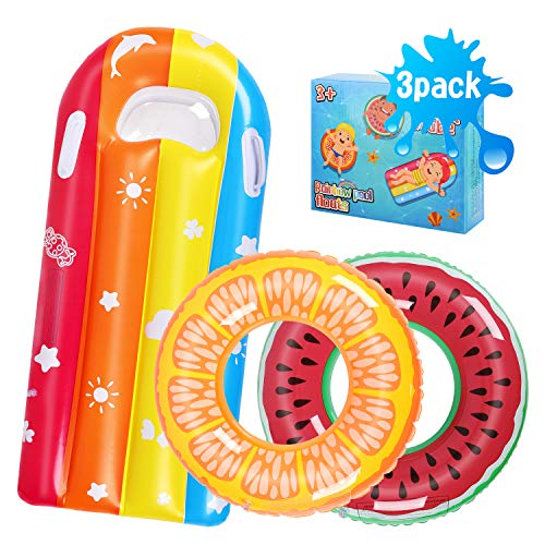 Auney Kinder Schwimmring, 3 Stück Schwimmreifen Wasserring Aufblasbare Wassermelonen-Schwimmring Schwimmreif Luftmatratze Wasserspielzeug Schwimmbecken Schwimmer Schwebebett Schwimminsel