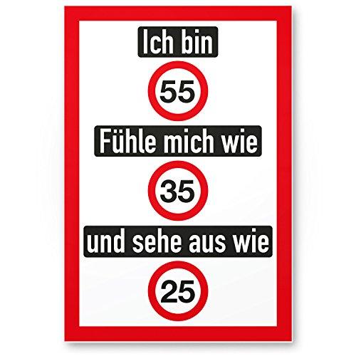 DankeDir! Ich Bin 55 Jahre (nett), Kunststoff Schild - Geschenk 55. Geburtstag, Geschenkidee Geburtstagsgeschenk Fünfundfünfzigsten, Geburtstagsdeko/Partydeko/Party Zubehör/Geburtstagskarte