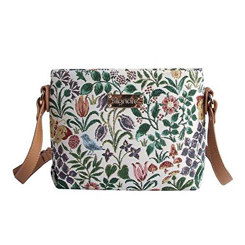 Signare Tapisserie Kleine Handtasche Damen, Umhängetasche Damen, Schultertasche Damen mit C. F. A. Voysey Design (Frühlingsblumen)