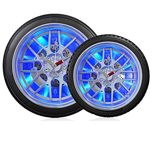 Reloj de Pared Reloj de Colgar Noche LED Luz Creativa Luz privada Sala de Estar Dormitorio Reloj de Pared Reloj de neumático Mute Mute 26 cm * 26 cm * 7 cm (Color:Rojo) (Color : Blue)
