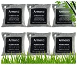 Charcoal Bags Odor Absorber- Activated Charcoal Air Purifying Bag - Charcoal Bags for Mold and Mildew- Charcoal Bags for Home, Shoe, Pets, Car - Bamboo Charcoal Bags with Hooks- 6 x 200 gm