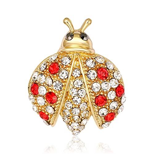 YAOLUU Broches y alfileres Diseño Ladybug Broche Pin Rhinestone Pin Animal Broches Cumpleaños Regalo Boutique Joyería Broche de Moda
