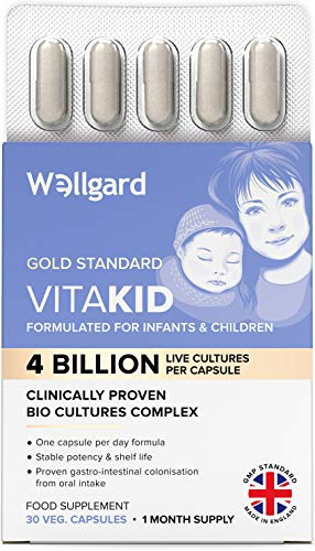 Wellgard Vitakids for Infants & Children - Clinically Proven Bio Cultures for Kids, Targets Gut Flora Imbalance Issues in 14 Days, Made in UK
