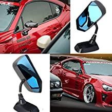 Kyostar Universal F1 Style Side Mirrors Real Carbon Fiber Rear View Mirror with Blue Glass