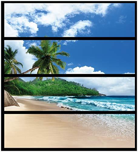 Wallario Möbelfolie/Aufkleber, geeignet für IKEA Malm Kommode - Urlaub auf den Seychellen unter Palmen am Sandstrand mit 4 Schubfächern