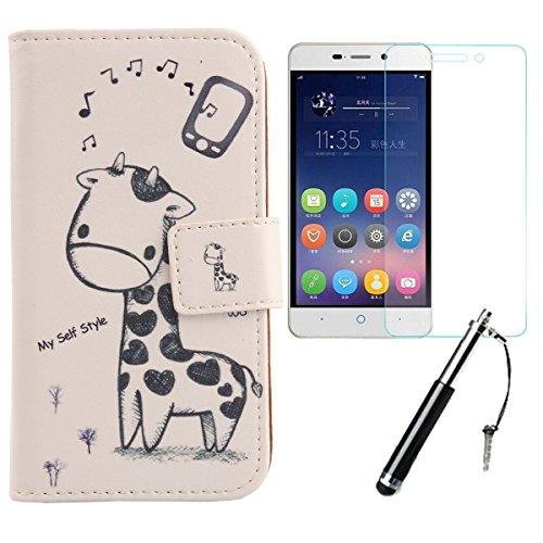 Lankashi Giraffe 3in1 Set PU Flip Leder Tasche Für ZTE Blade A452 5