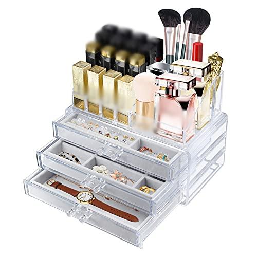 Organizador de cosméticos acrílico Joyero para mujer Joyero organizador de joyas cajones transparente