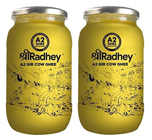 SHREE RADHEY A2 Bilona Gir Cow Ghee | 1 Litre X 2 | Traditional Bilona Method | Cultured | Premium | Immunity Booster | Pure | Healthy | Lactose and gluten free | Keto Friendly | Glass Bottle