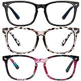 Blue Light Blocking Glasses-3Pack Computer Game Glasses Square Eyeglasses Frame, Blue Light Blocker Glasses for Women Men (Black+douhua+Wrap flowers)