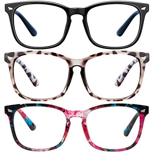Blue Light Blocking Glasses3Pack Computer Game Glasses Square Eyeglasses Frame Blue Light Blocker Glasses for Women Men BlackdouhuaWrap flowers