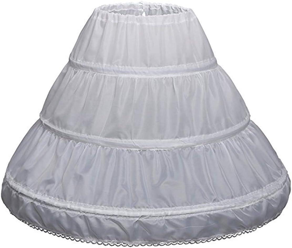 Eliffete Girl's 3 Hoops Crinoline Underskirt Aline Petticoat for Wedding Dresses
