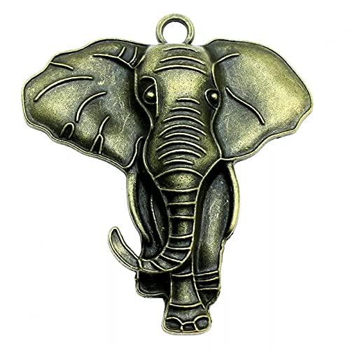 LLBBSS 1Pcs Colgante De Encantos De Elefante Hallazgos De Bricolaje Tono De Bronce Antiguo 2.8X2.5 Pulgadas (71X63 Mm)