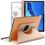ebestStar - kompatibel mit Huawei MediaPad M5 Lite 10.1 Hülle Tablet 10.1 Rotierend Schutzhülle Etui Ständer, Rotating Hülle Cover, Gold +Panzerglas Schutzfolie [M5 Lite 10.1: 243.4x162.2x7.7mm 10.1