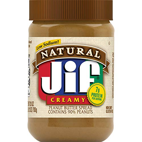 Jif Natural Creamy Peanut Butter Spread, 28 Ounces, Contains 90% Peanuts