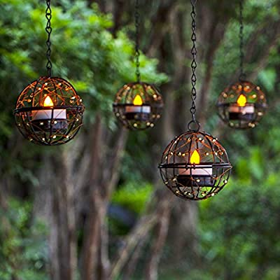 Solar Lights Outdoor Hanging Lanterns, ZHONGXIN Beaded Copper Wire Ball Candle Holder with Solar Tea Lights, Perfect for Home, Garden, Backyard, Pergola, Patio Umbrella, Tree, Window Decor-Set of 4