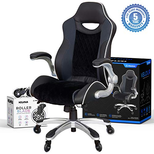 Gaming Chair by NOUHAUS Velvet Computer Chair with Retractable Armrest with Bonus Blade Wheels. Swivel Game Chair for Gaming Desk! Ergonomic Office Chair or Racing Gamer Chairs for Adults big chair gaming tall