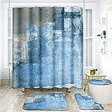 ArtSocket Duschvorhang-Set, grau-blau, abstrakte Malerei, modern, mit rutschfesten Teppichen, WC-Deckelbezug & Badematte, Badezimmer-Dekor-Set, 182,9 x 182,9 cm, 4-teilig