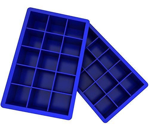 Ozera 2 Pack Silicone Ice Cube Tray, Ice Cube Trays Molds, Large Ice Cube Tray for Whiskey, Easy Release Flexible Ice Cube Molds 15 Ice Cubes for Cocktail, Chocolate