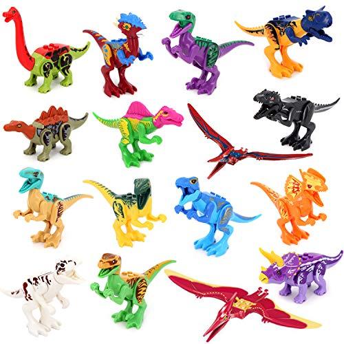 Dinosaur Mini Figures, 16pcs Multicolor/Dino Building Blocks, Dinosaurs Figures, Dinos Toy, Buildable Dinosaur Building Blocks Figures With Movable Jaws, Dinosaur Toys for 6 Year Old up Kids Boys and