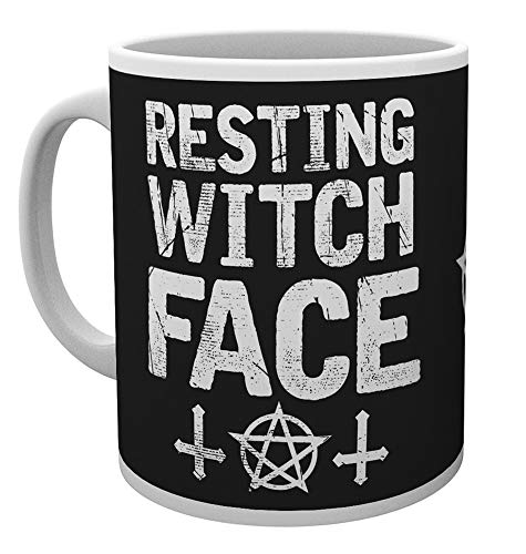 Resting Witch Face Mug with witchcraft graphics