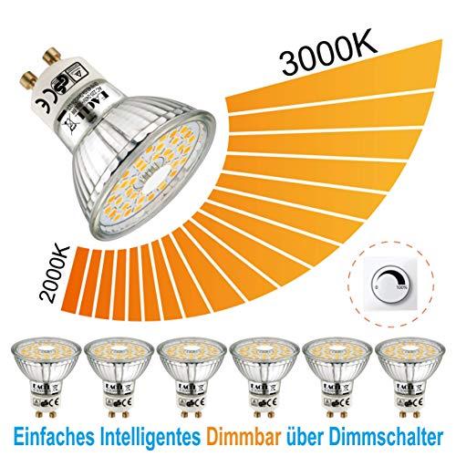 EACLL Gu10 Led Warmweiss Dimmbar 2000K-3000K, Stufenloses Dimmen 6W Par16 Leuchtmittel. Lichtanpassung LED Lampen, 6 Pack