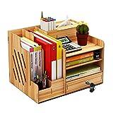 Organizador de escritorio de madera, gran capacidad para bricolaje, suministros de oficina, almacenamiento de archivos, revistas, documentos, organizador con cajón, caja de soporte para bolígrafos