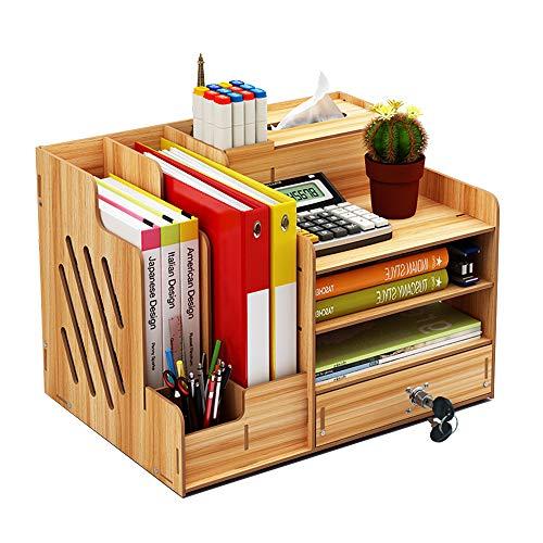 Schreibtisch-Organizer aus Holz, große Kapazität, zusammenbaubar, Bürobedarf, Aufbewahrung, Ordner, Dokumente, Zeitschriftenhalter mit Schublade, Stifthalter-Box Kirsche
