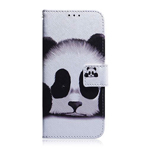 Sunrive Hülle Für Wiko Sunny 2 Plus, Magnetisch Schaltfläche Ledertasche Schutzhülle Etui Leder Case Cover Handyhülle Tasche Schalen Lederhülle MEHRWEG(T Panda 1)