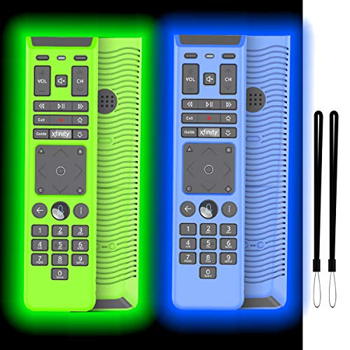 [2-Pack] Silicone Case Cover for XFinity Remote, Protective Lightweight Shockproof for XFinity Comcast XR15 Voice Remote Cover with Lanyard (Glowing Blue and Glowing Green)