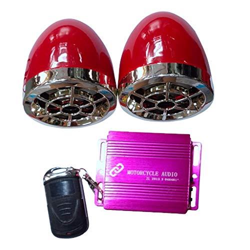 perfk DC 12V Audio de Moto con 2 Altavoces, Accesorio Pequeño con Control Remoto y Alarma Antirrobo Que Puedes Encender y Apagar - Rojo + Rojo