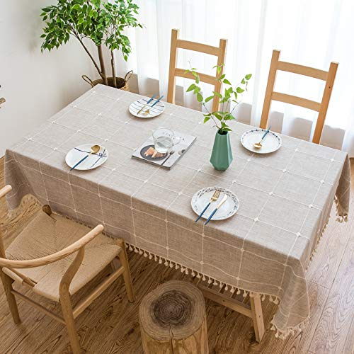 DJUX Mantel de Borla a Cuadros Pastoral Mantel de Mesa de café de Color sólido Mantel Rectangular para el hogar 60x60 cm