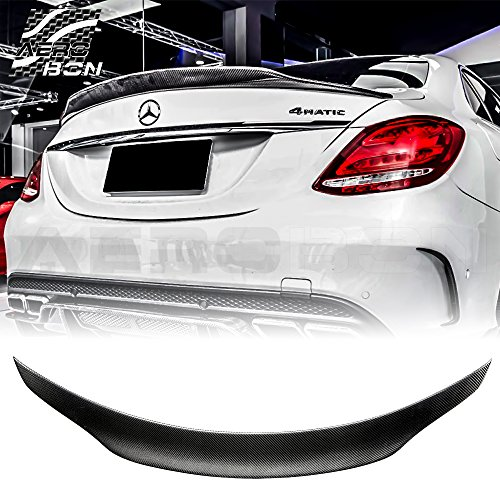 AeroBon Carbon Fiber Trunk Lip Spoiler Compatible with 2015-20 Mercedes C-Class W205 C63 C43 C450 (High-Kick Style)