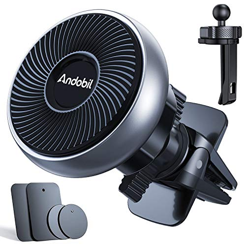 Andobil Magnetic Phone Car Mount, [100% Never Fall] [Upgraded Clips] Strong Magnets Ultra Sturdy Universal Cell Phone Holder for Air Vent, Compatible with iPhone 12 11 X XR 8 SE, Samsung Note 20 S20
