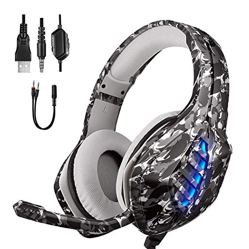 Gaming Headset 2020, Moimhear PS4 Headset RGB LED Licht Crystal Clarity mit Mic PC Headset Gaming Kopfhörer für PC Xbox One Headset Nicht Enthalten Adapter Nintendo - Tarngrau