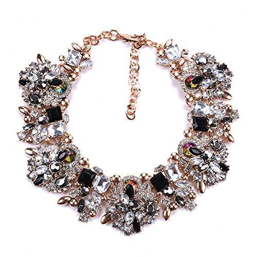 ZGGDNJ GDNJ Collar Collar Grande Babero Collar Grande Collar Mujer Cristal de Lujo Collar de Diamantes de imitación Femme Collar Llamativo de BodaNegro