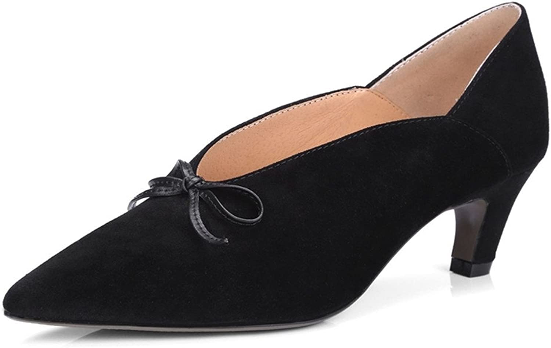 Nine Seven mocka läder Woherrar Pointed Toe Low Heel Heel Heel Söt Handgjord Klassisk Bowknop Pump skor  Vi erbjuder olika kända varumärken