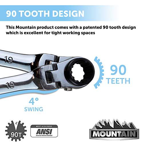 Mountain 5-Piece Metric Double Box Universal Spline Reversible Ratcheting Wrench Set; 8 mm - 18mm, 90 Tooth Design, Long, Flexible, Reversible; MTNRM6