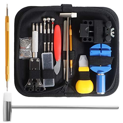 Uhrenreparaturset, Uhrenwerkzeug Set mit Nylontasche, 13-teiliges Uhrmacherwerkzeug Set zur Uhren Reparatur, Akku-Uhrwerkzeug Ersatzwerkzeug-Kit mit Tragetasche Geeignet für Uhren und Uhrenliebhaber